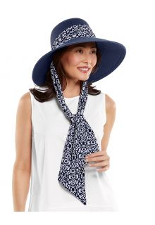 Coolibar---UV-Floppy-Hat-with-Scarf-for-women---Stella---Navy/Floral
