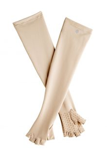 Coolibar---UV-fingerless-gloves-with-long-sleeve-for-adults---Perpetua---Beige