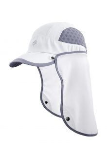 Coolibar---UV-Sport-Cap-with-neck-cover-for-adults---Agility---White/Steel-Grey