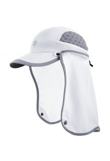 Coolibar---UV-Sport-Cap-with-neck-cover-for-kids---Agility---White/Steel-Grey