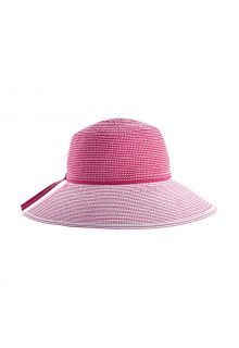 Coolibar---Wide-Brim-UV-Hat-for-girl---Tea-Party-Ribbon---Pink/White